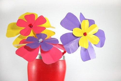 Детские поделки из цветной бумаги цветы очень красивые
