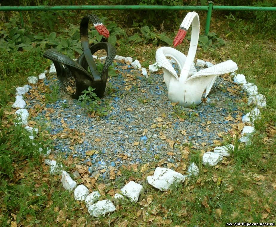 Поделки из покрышек для сада и огорода своими руками фото